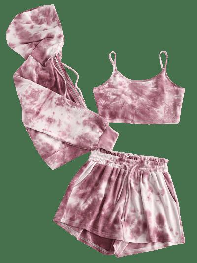 Three Piece Zip Up Tie Dye Paperbag Shorts Set