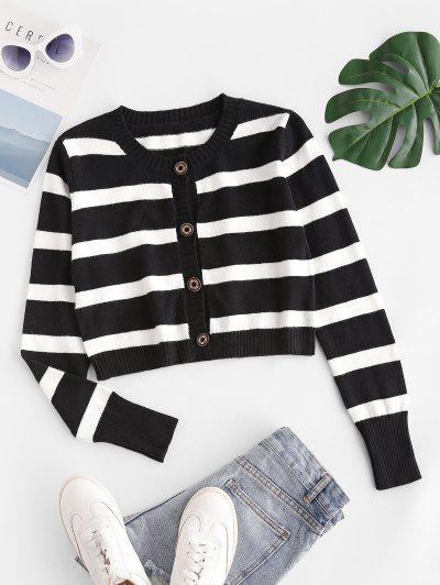 Striped Button Up Crop Cardigan - Black