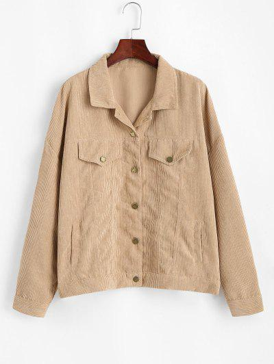 Corduroy Drop Shoulder Flap Detail Jacket - Light Coffee M