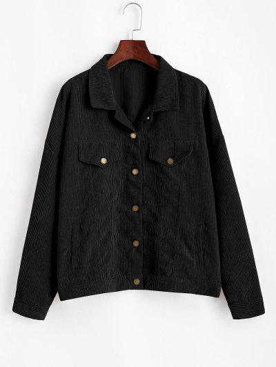 Corduroy Drop Shoulder Flap Detail Jacket - Black S