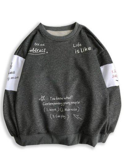 Letter Print Contrast Slogan Sweatshirt - Dark Gray S