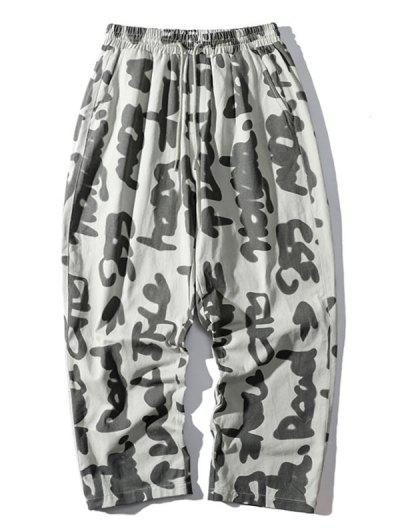 Abstract Characters Print Casual Straight Pants - White S