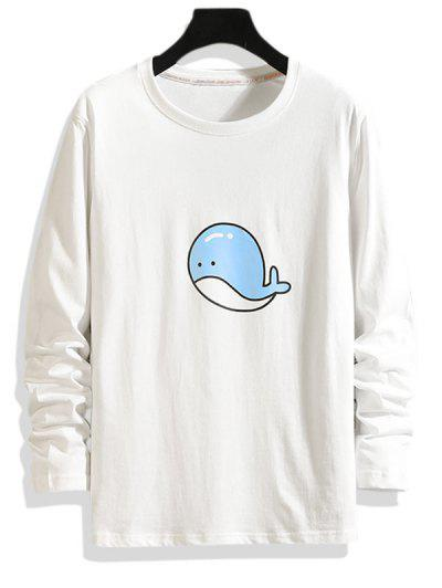 Dolphin Pattern Long Sleeve T-shirt - White Xs