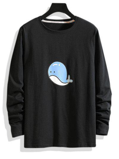 Dolphin Pattern Long Sleeve T-shirt - Black Xs