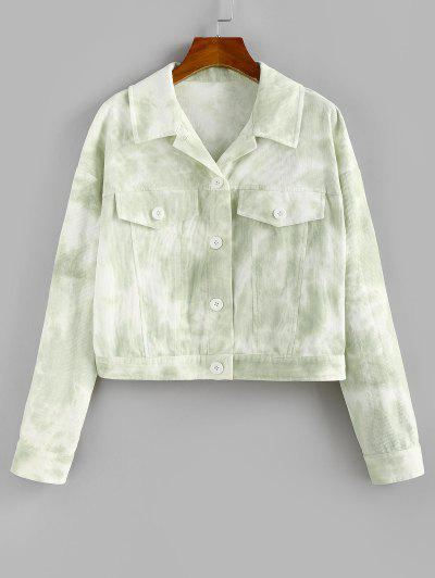 ZAFUL Tie Dye Flap Detail Jacket - Light Green M