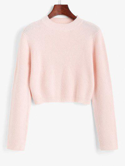 Crew Neck Solid Color Short Sweater - Light Pink