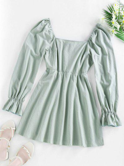 ZAFUL Poet Sleeve Mini Flare Dress - Light Green S