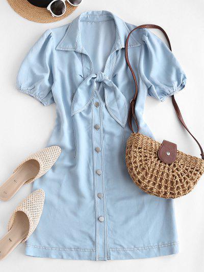 ZAFUL Chambray Button Up Tied Mini Dress - Light Blue M
