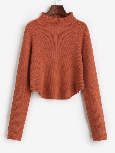 Mock Neck Ribbed Curved Hem Sweater - Pumpkin Orange