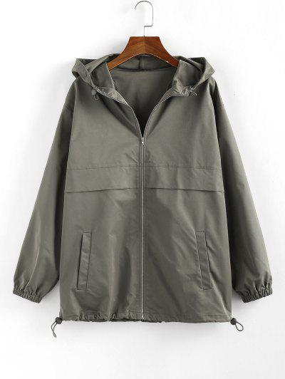 ZAFUL Hooded Toggle Drawstring Zipper Jacket - Army Green Xl