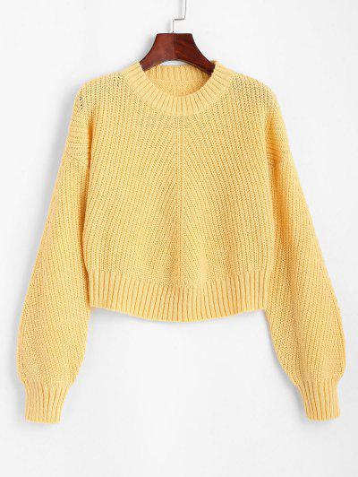 Crew Neck Plain Drop Shoulder Sweater - Yellow