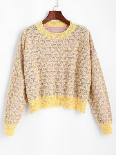 Crew Neck Drop Shoulder Geometric Sweater - Yellow