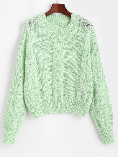 Loose Crew Neck Cable Knit Sweater - Light Green