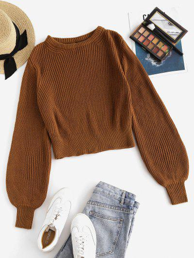 ZAFUL Crew Neck Cut Out Back Pullover Sweater - Coffee M