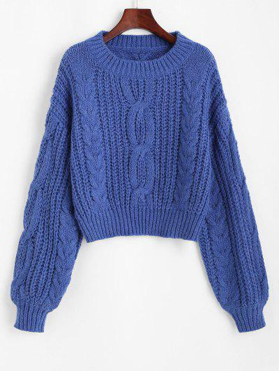 Chunky Crew Neck Cable Knit Sweater - Blue