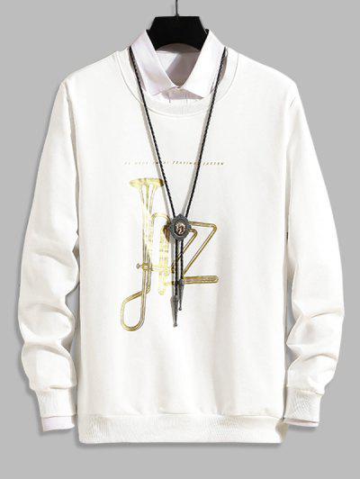 Music Horn Graphic Crew Neck Lounge Sweatshirt - White S