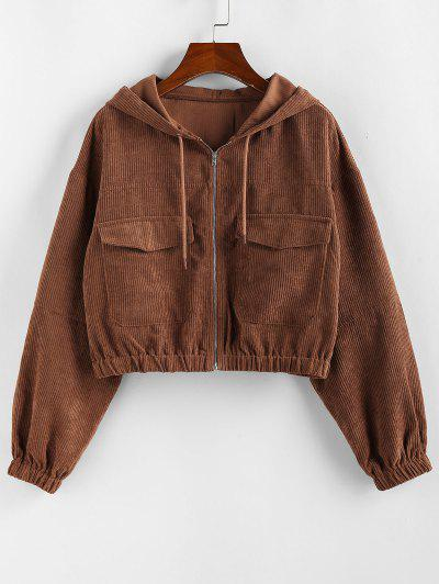 ZAFUL Corduroy Drop Shoulder Pocket Hooded Jacket - Chestnut S