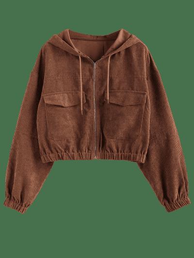 ZAFUL Corduroy Drop Shoulder Pocket Hooded Jacket