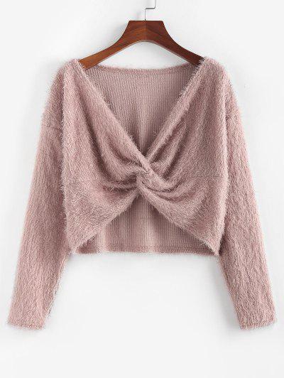 ZAFUL Fuzzy Twisted Drop Shoulder Jumper Sweater - Deep Pink S
