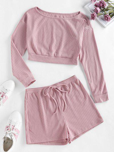 ZAFUL Lounge Ribbed Drop Shoulder Boat Neck Shorts Set - Orange Pink M