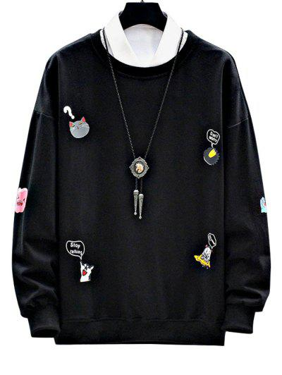Cartoon Animal Letter Print Drop Shoulder Sweatshirt - Black S