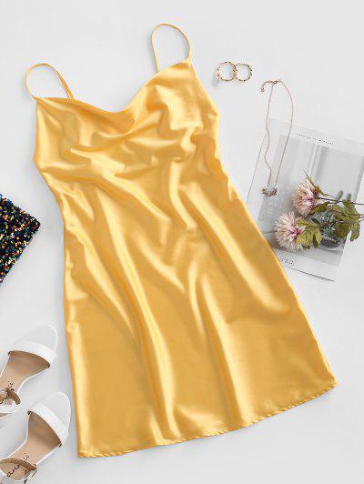 Cami Cowl Front Satin Mini Dress - Yellow M