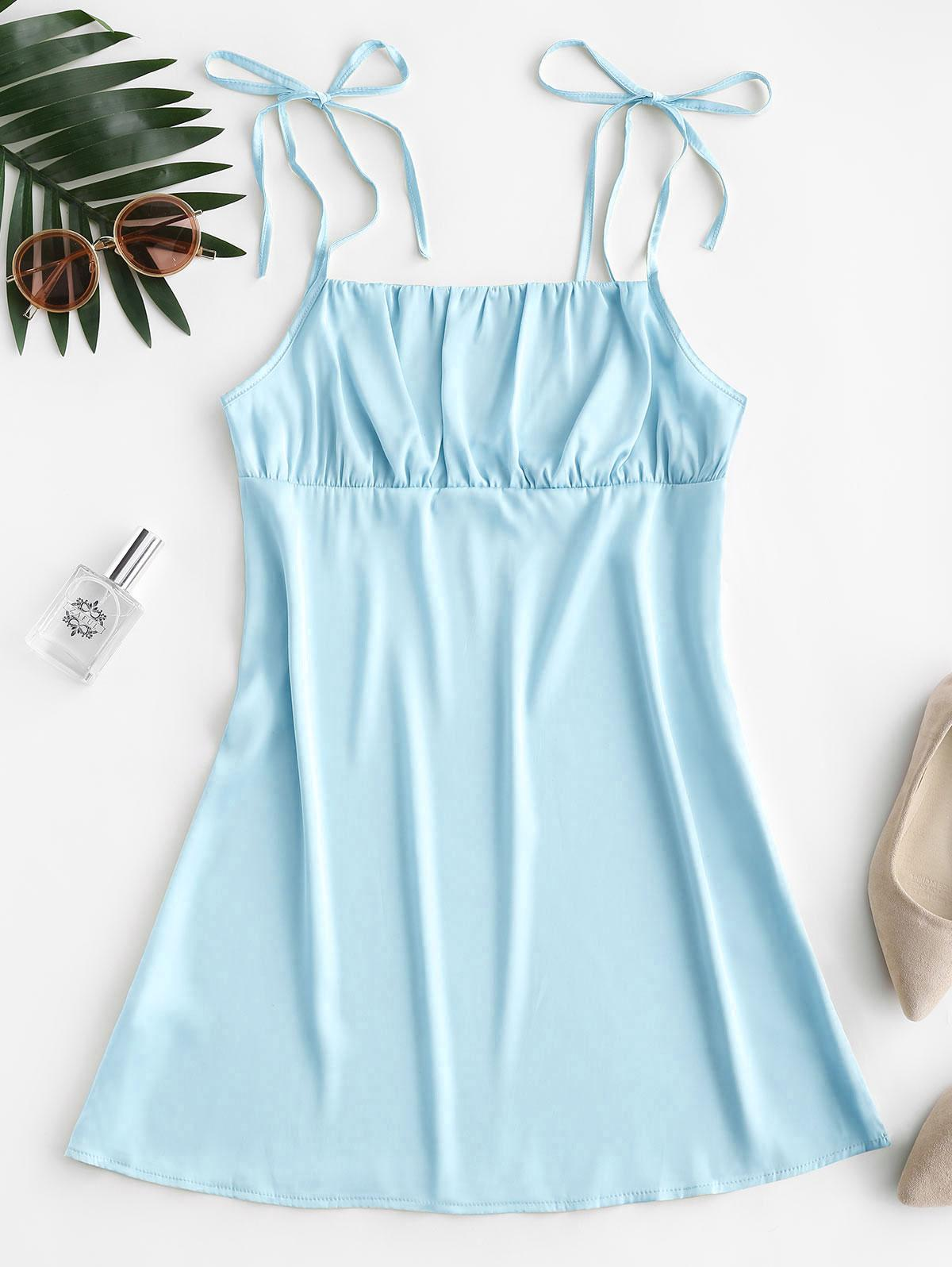 Silky Ruched Front Tie Shoulder Mini Dress