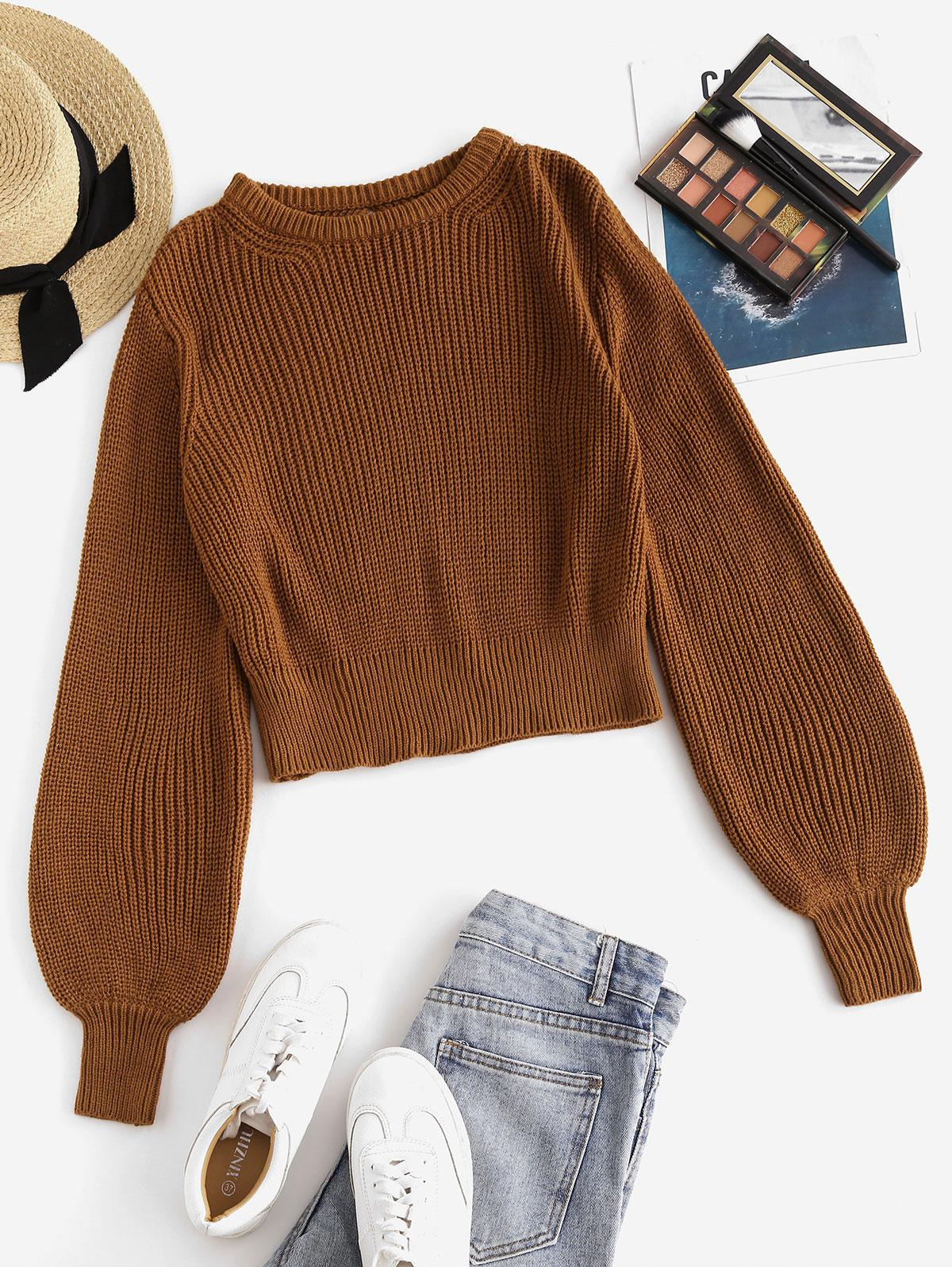 ZAFUL Crew Neck Cut Out Back Pullover Sweater