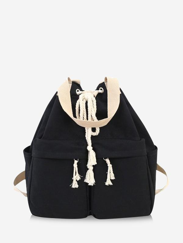 Multi-pocket Canvas Drawstring Backpack