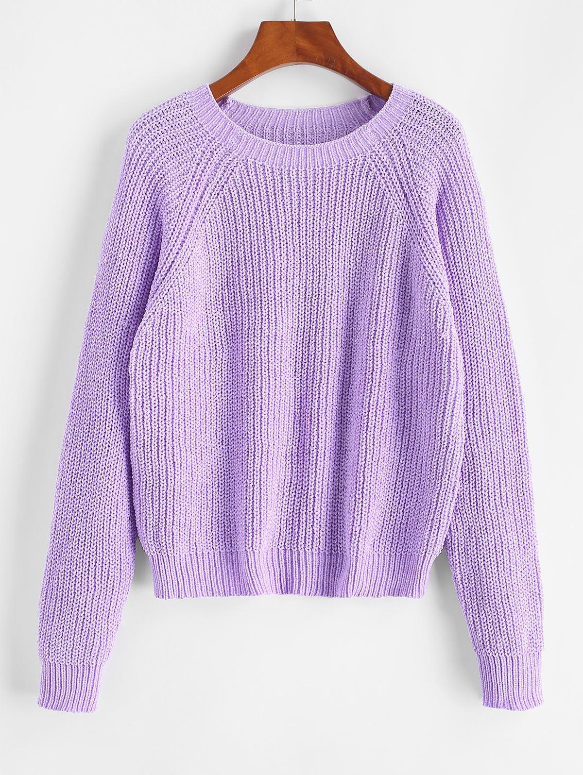 ZAFUL Pullover Raglan Sleeve Chenille Sweater