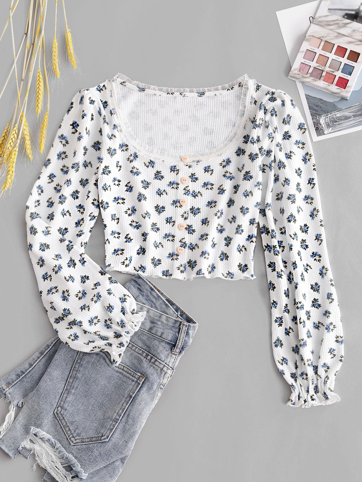 ZAFUL Flower Print Poet Sleeve Heart Shaped Button Top