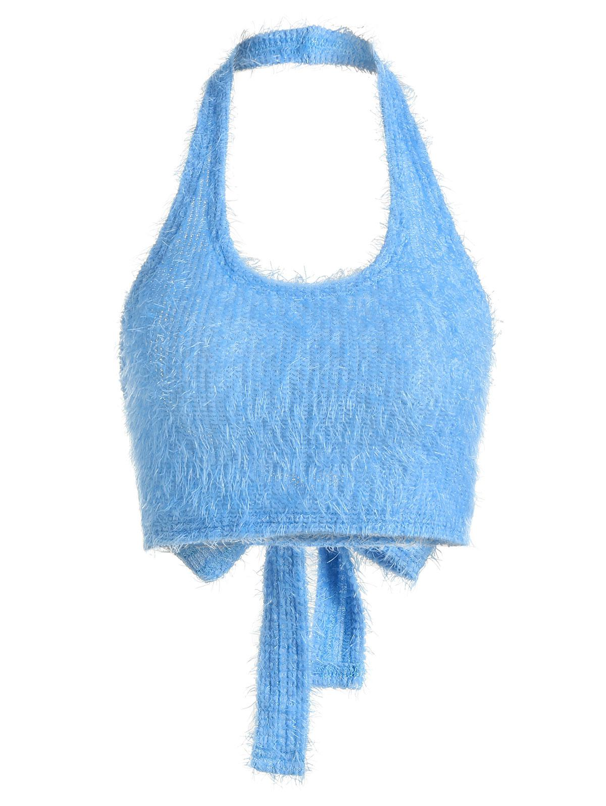 ZAFUL Fuzzy Knitted Halter Tie Back Tank Top