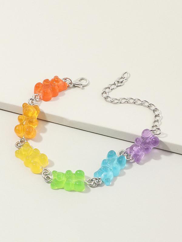 Colored Resin Bear Shape Bracelet