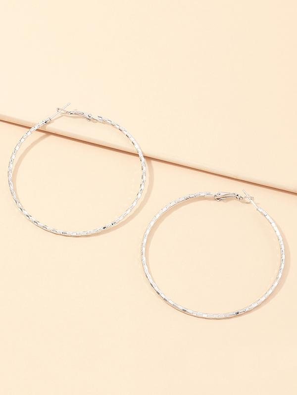 Alloy Geometric Hoop Earrings