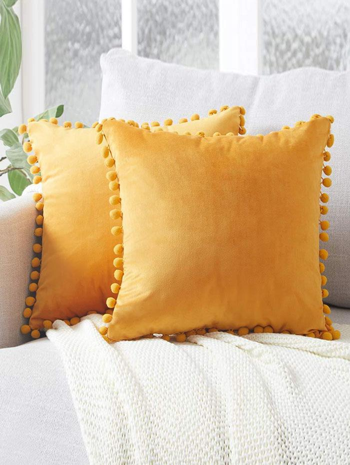 Solid Pom Pom Velour Sofa Pillowcase