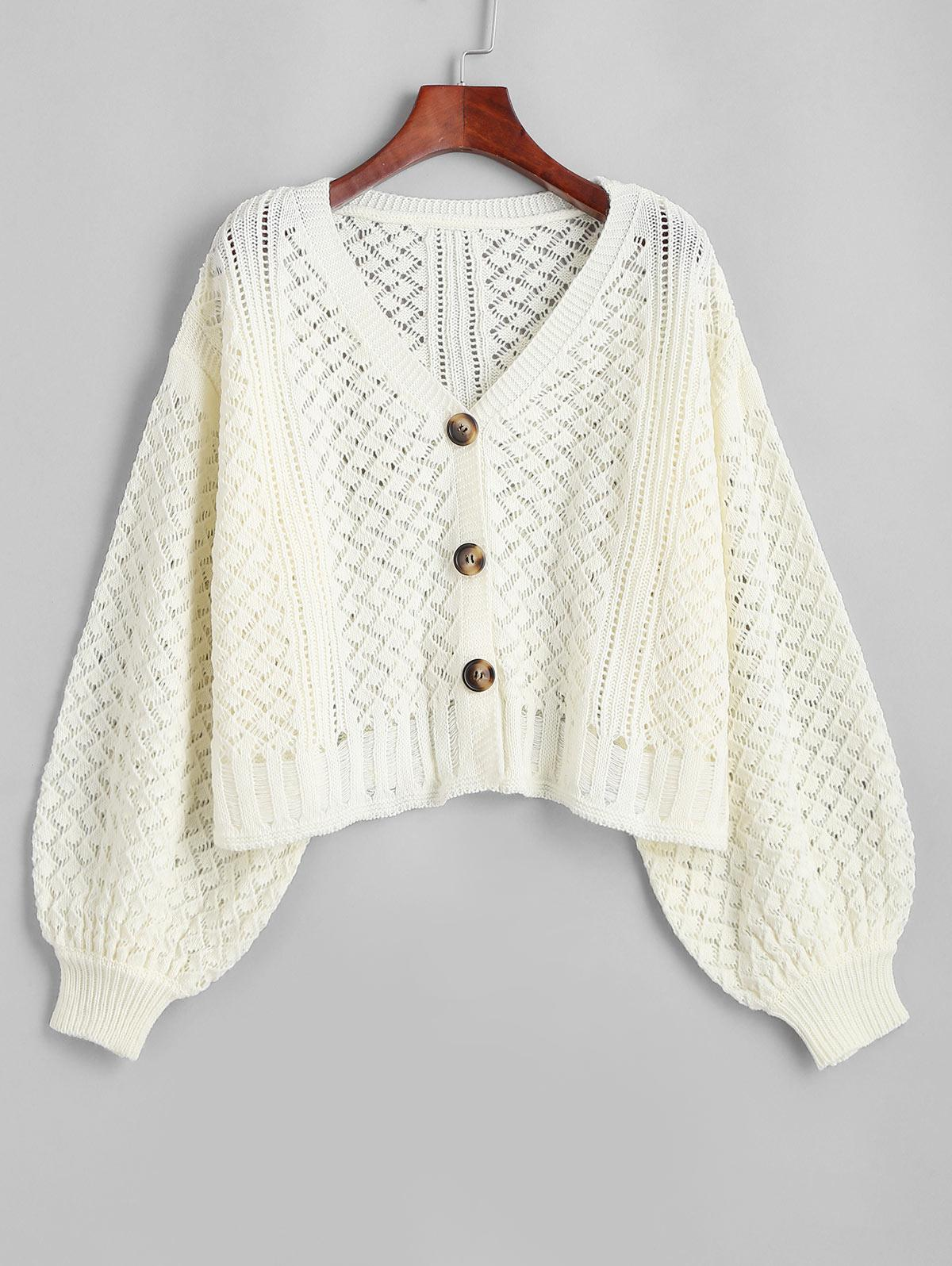 Openwork Lantern Sleeve Button Up Cardigan