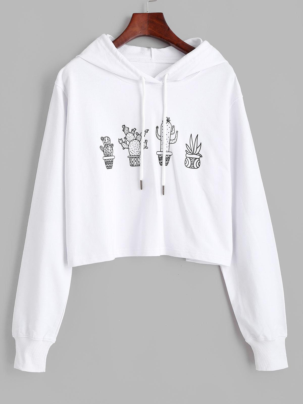 Cactus Graphic Pullover Drawstring Hoodie