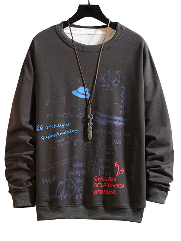 Sweat-shirt Lettre Graphique Imprimé S - Zaful FR - Modalova