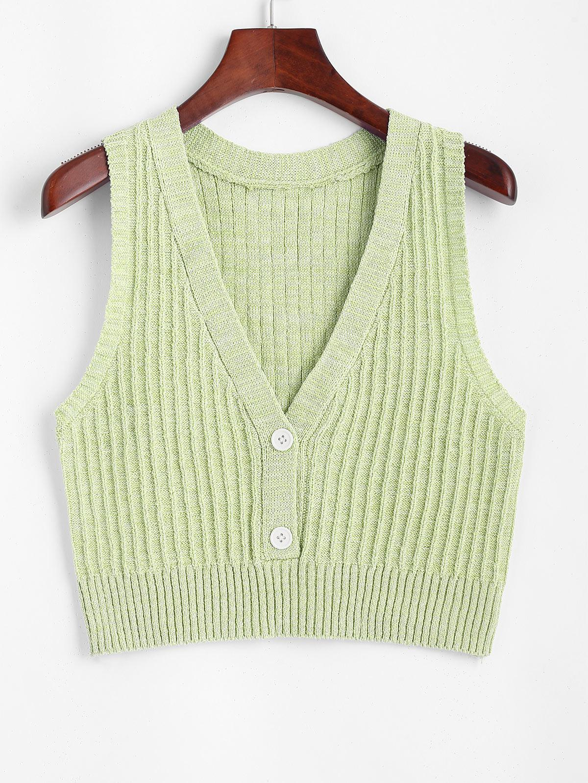 Low Cut Ribbed Knit Slim Tank Top