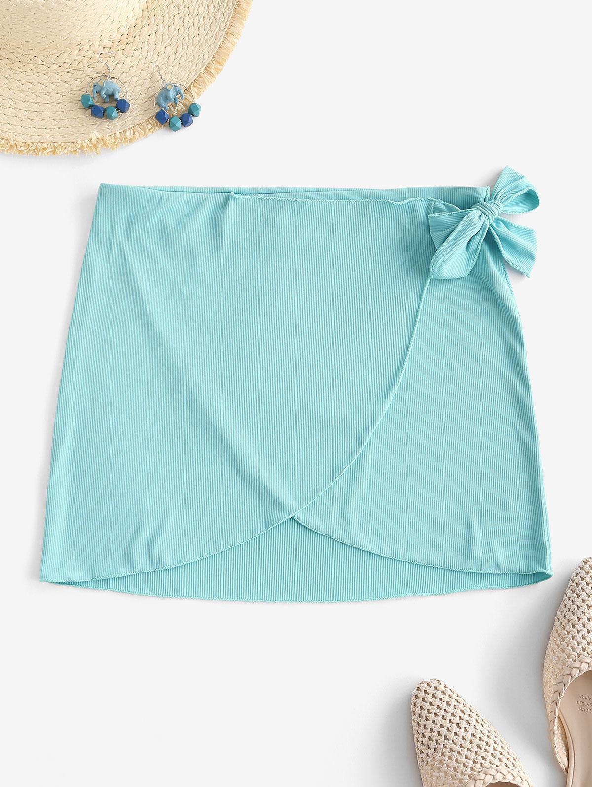 ZAFUL Ribbed Tie Side Tulip Beach Skirt