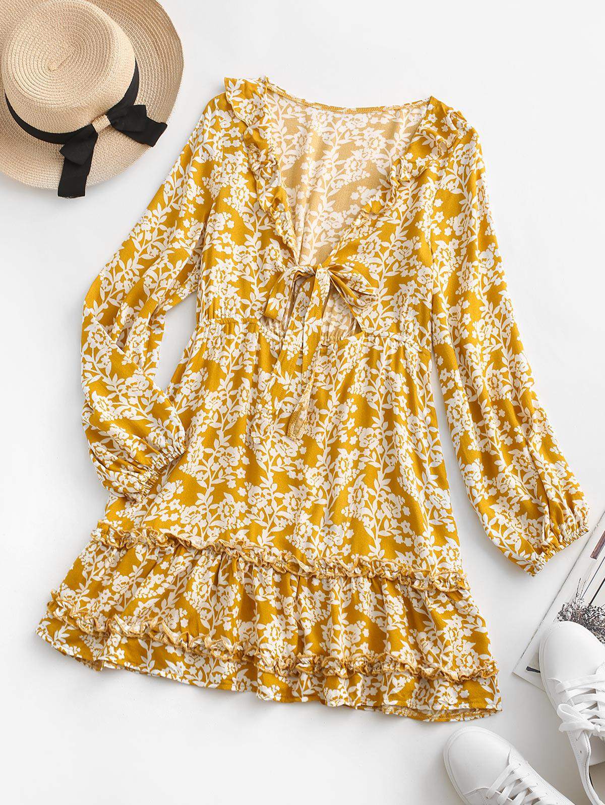 Floral Tie Front Ruffles Long Sleeve Dress