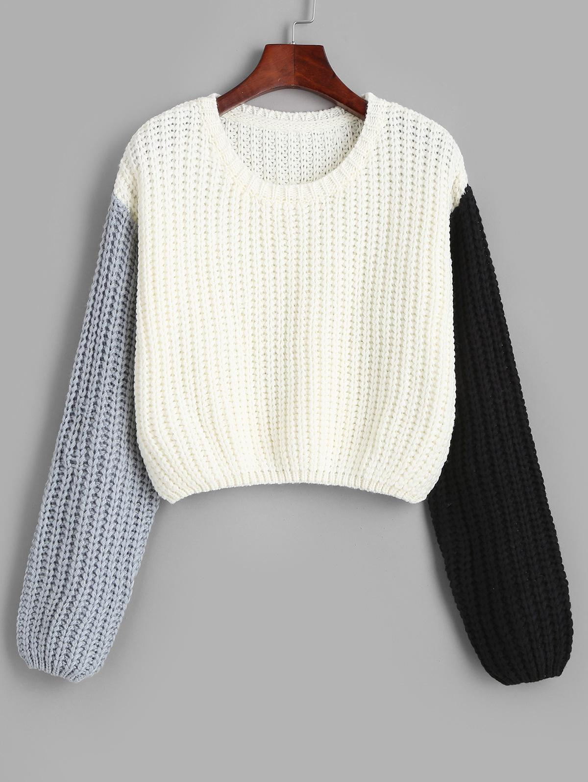 Contrast Ribbed Cropped Sweater