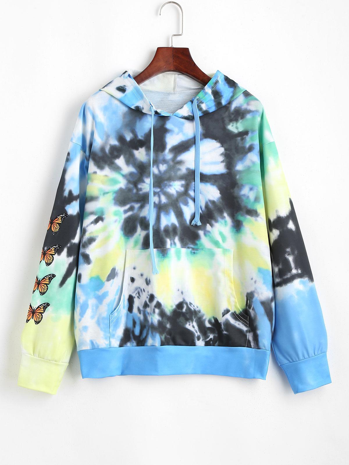 Tie Dye Butterfly Print Kangaroo Pocket Hoodie