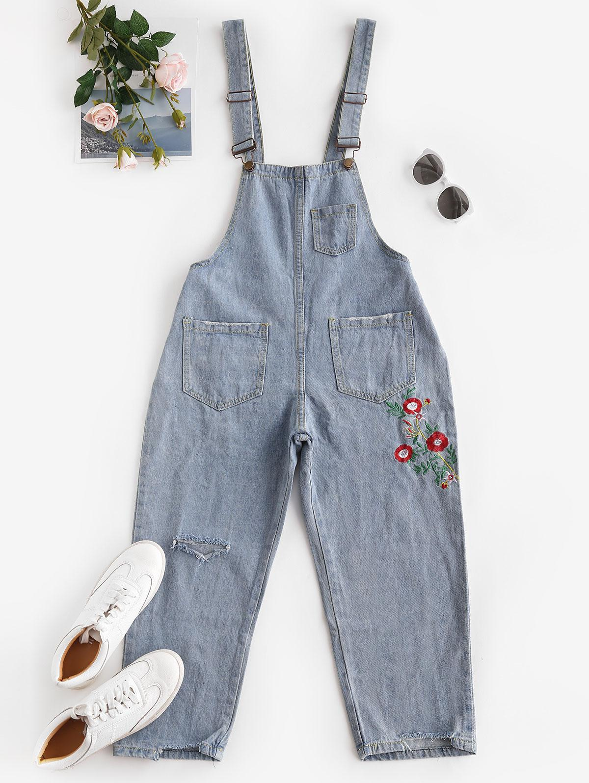 Floral Embroidered Ripped Denim Overalls Jumpsuit