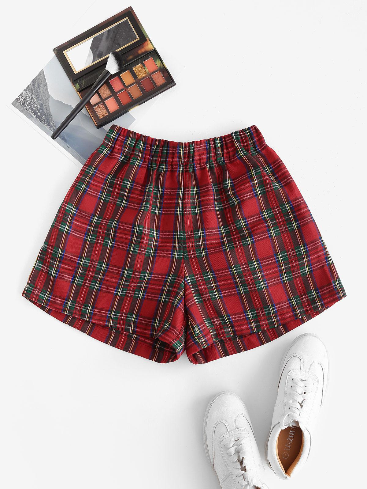 Plaid Pocket High Waisted Shorts