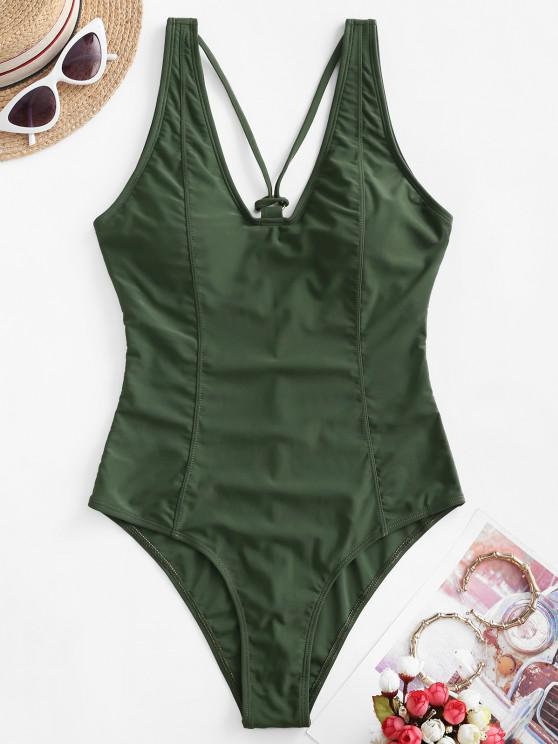 womens ZAFUL Princess Seam Strappy Ring Linked One-piece Swimsuit - ARMY GREEN S