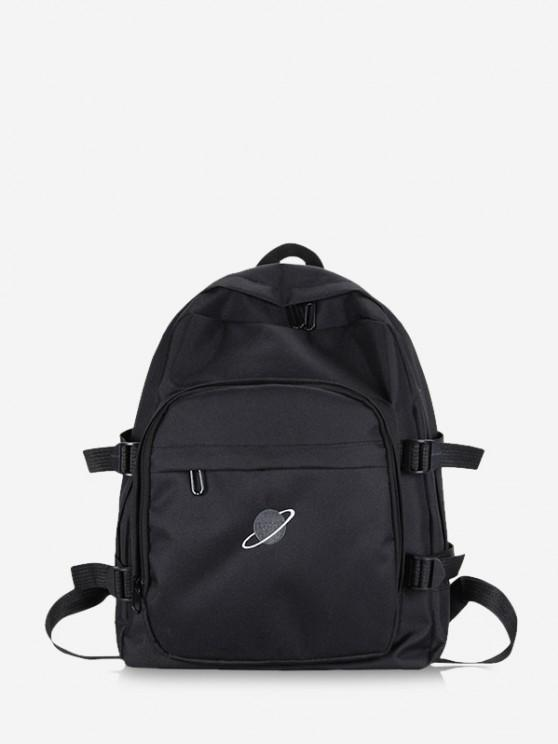 trendy Planet Print Polyester Solid Backpack - BLACK