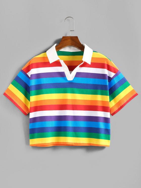 ZAFUL T-Shirt Às Riscas de Arco-íris - Multi-A M