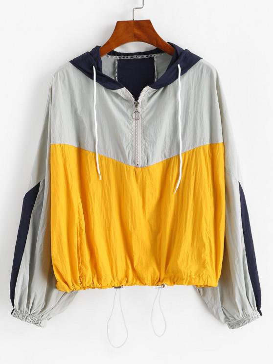 fancy Half Zip Colorblock Toggle Drawstring Jacket - DEEP YELLOW ONE SIZE