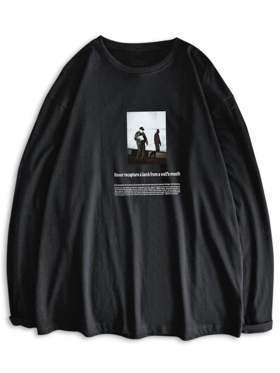 Long Sleeve Texting Graphic Basic T Shirt - أسود S